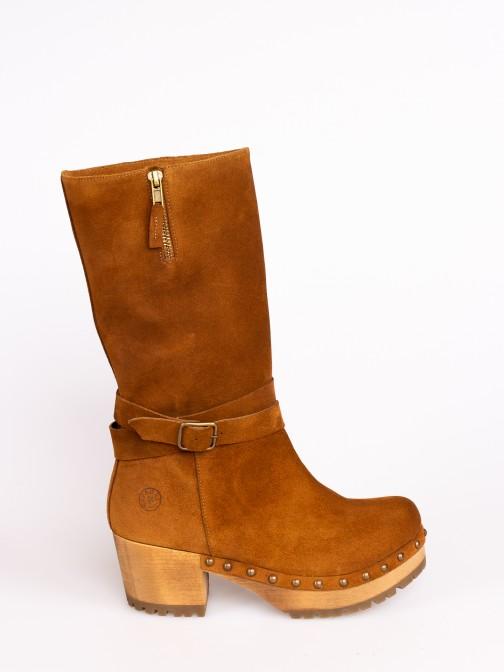 Wood Mid-calf Boots