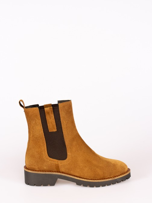 Suede Ankle Boot with Side Elastics