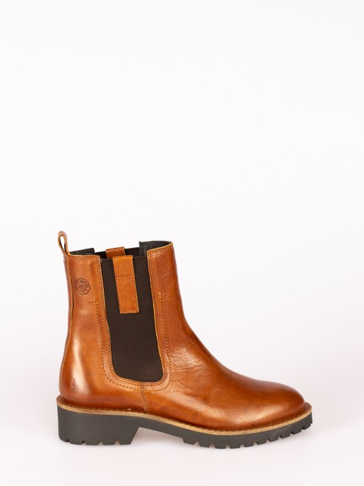 Rustic Leather  Ankle Boot with Side Elastics