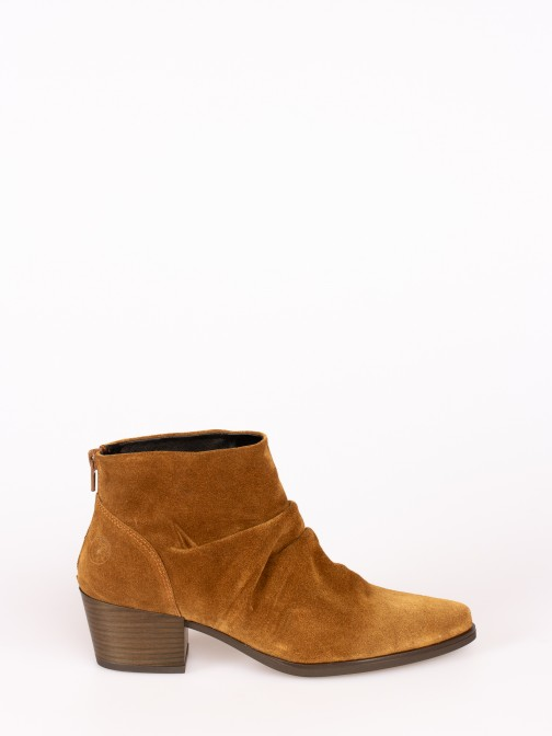 Ruched Suede Ankle Boot