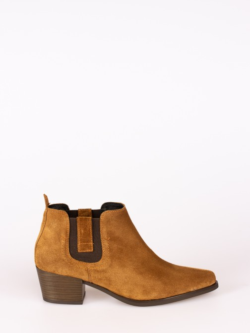 Suede High-heel Ankle Boot with Side Elastics