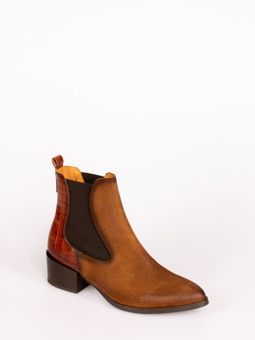 Suede Almond Toe Ankle Boots