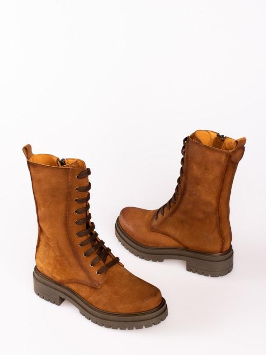 Suede Lace-up  Platform Boots