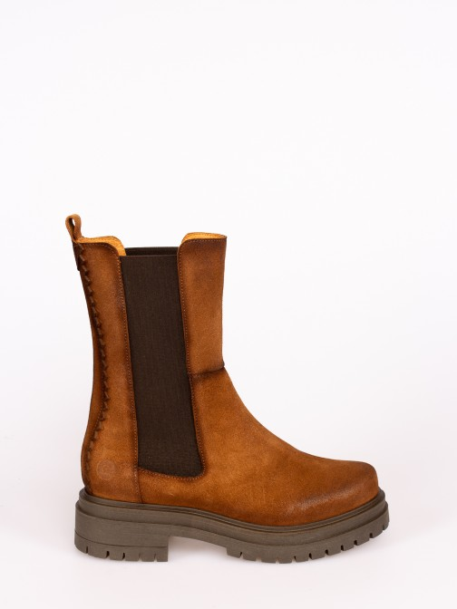 Suede  Platform Boots with Elastics