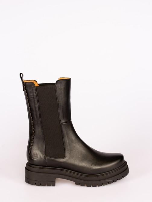 Leather Platform Boots with Elastics