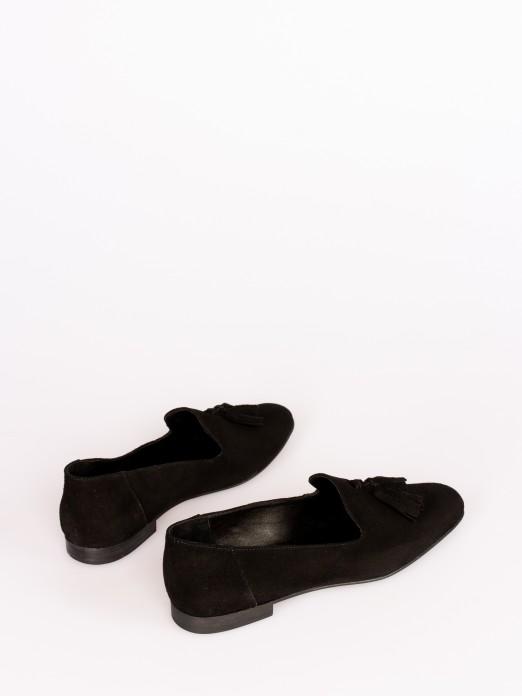Suede Tassel-Embellished Loafers