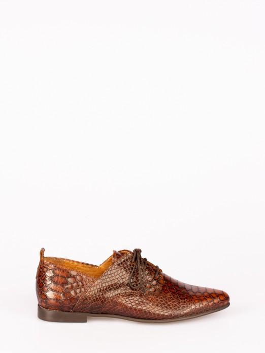 Sapato Atacador em Pele Anaconda