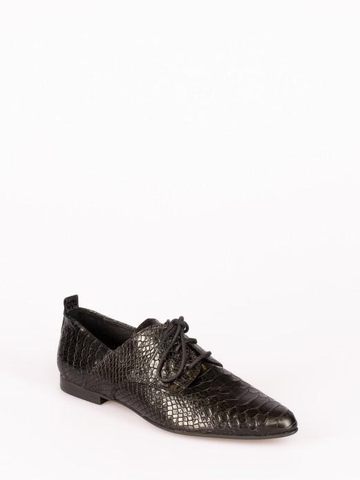 Anaconda-Effect Lace Shoes