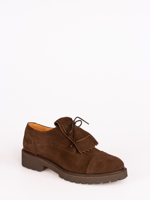 Frindged Track Sole Suede Shoes