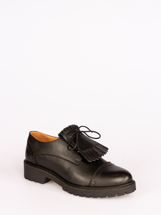 Frindged Track Sole Leather Shoes