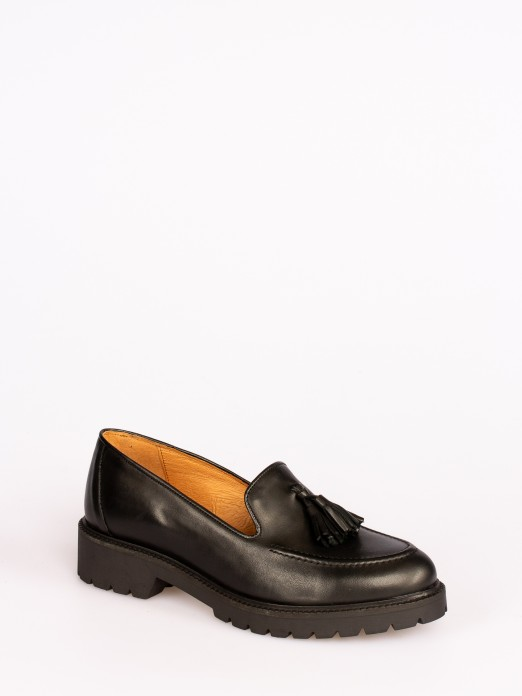 Leather Track Sole Tassel-Embellished Loafers