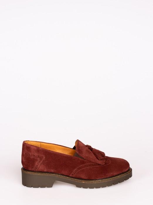 Suede Track Sole Tassel-Embellished Loafers