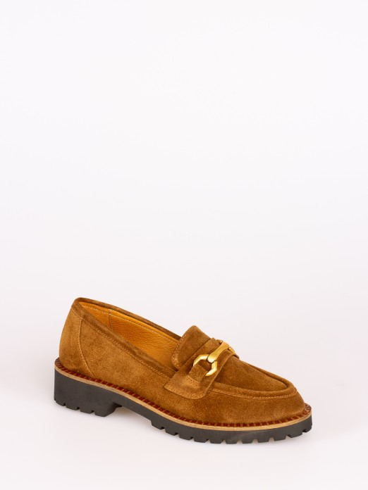 Suede Loafers with Chain Detail