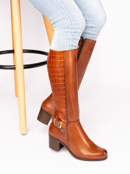 Crocodile-Effect Knee-High Boots