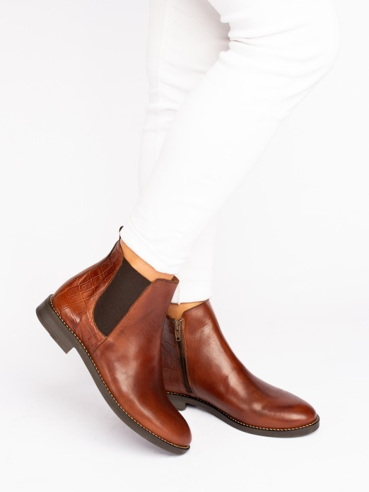 Croco Leather Flat Boots