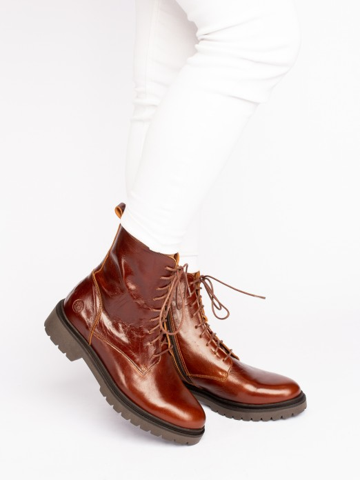 Polished Leather Lace-up Ankle Boots