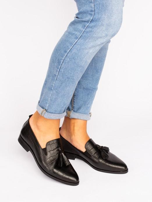 Leather Tassel-Embellished Loafers