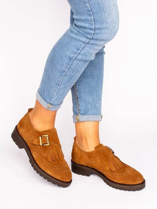 Track Sole Suede Shoes with Buckle