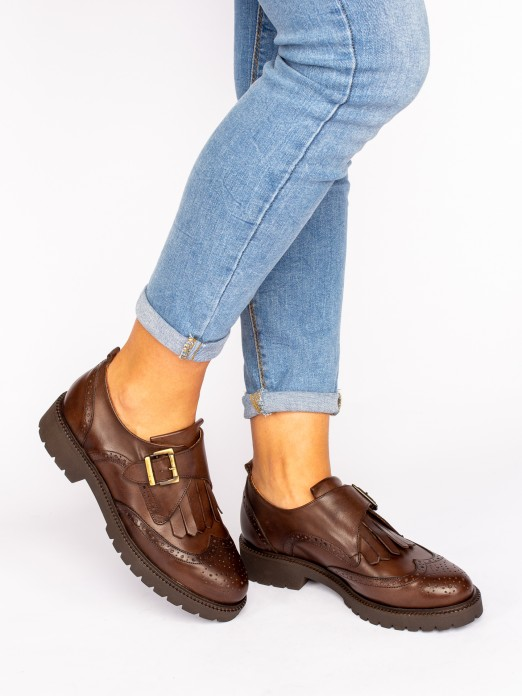 Track Sole Leather Shoes with Buckle