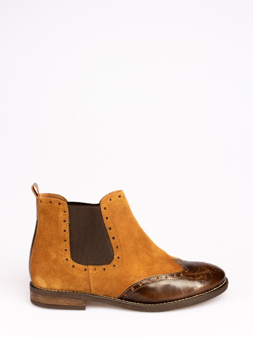 Suede and Leather Ankle Boots
