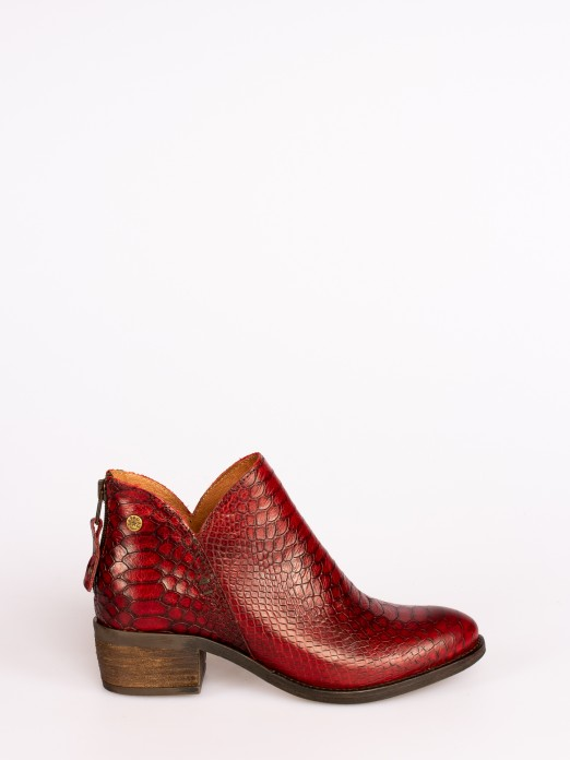 Snake-print Leather Ankle Boots