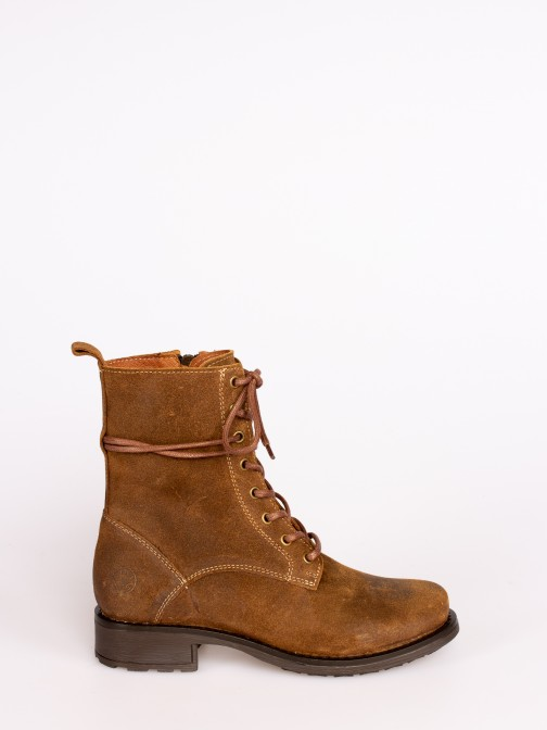 Lace-up Oiled Suede Boots