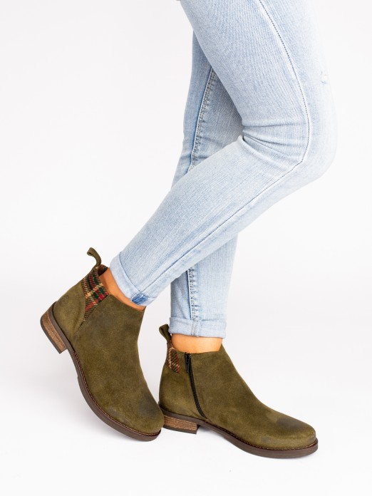 Suede Ankle Boots with Fabric