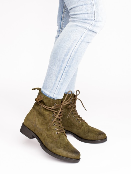 Lace-up Engraved Suede Ankle Boots