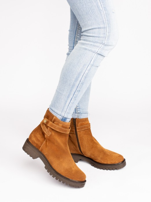 Suede Ankle Boots with Strips
