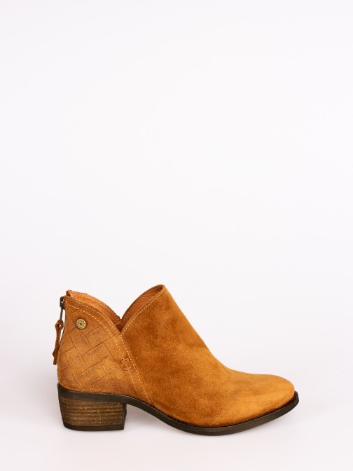 Engraved Suede Ankle Boots