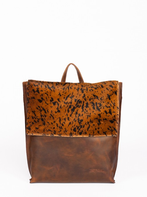 Animal-Print Leather Backpack