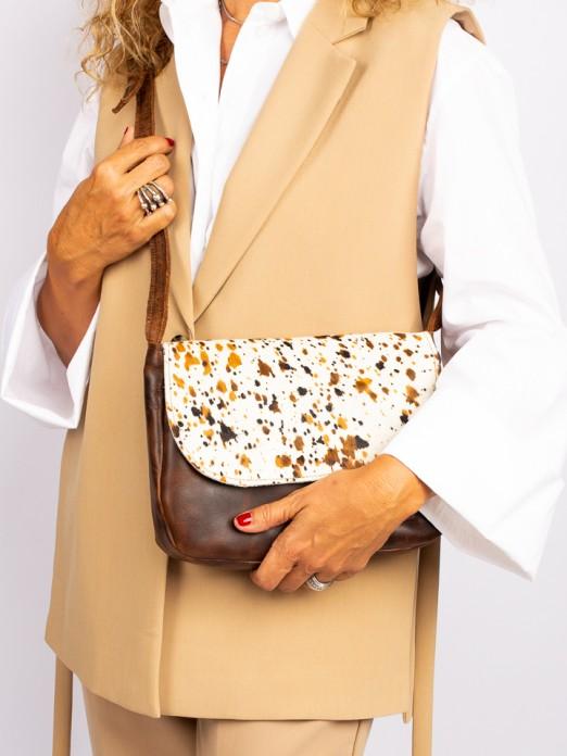 Animal-Print Leather Crossbody Bag