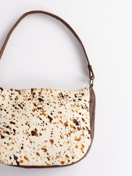 Animal-Print Leather Shoulder Bag