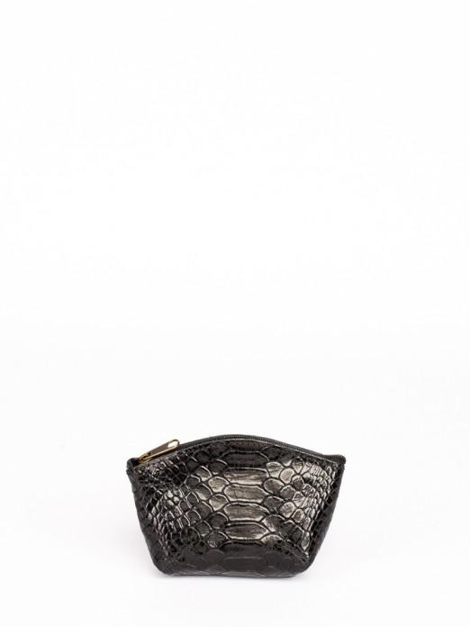 Engraved Anaconda Leather Round Wallet
