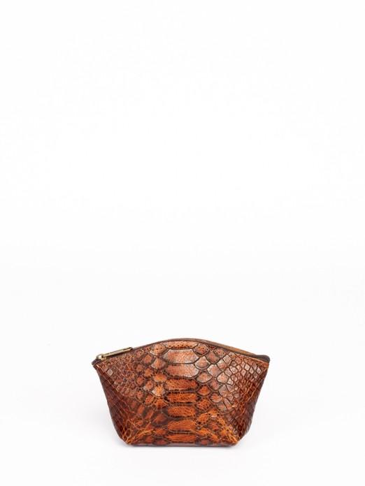 Carteira Redonda em Pele com Gravado Anaconda