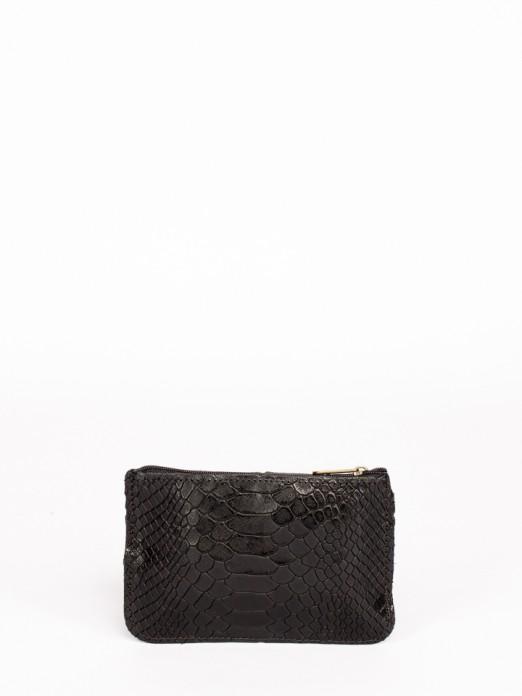 Carteira Retangular em Pele com Gravado Anaconda