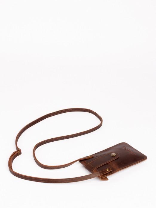Bolsa Telemóvel com Aba e Mola em Pele com Pelo