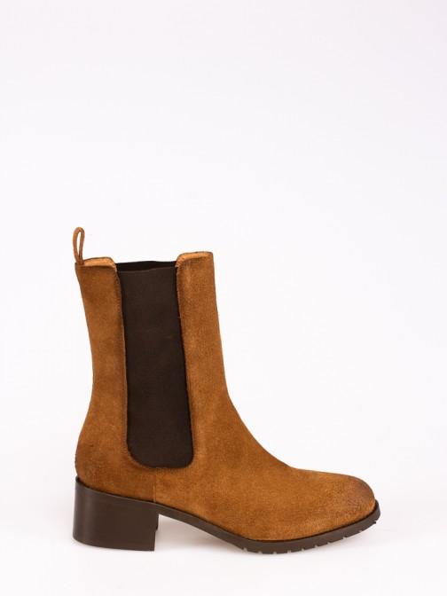 Suede Mid-calf Boots with Elastics