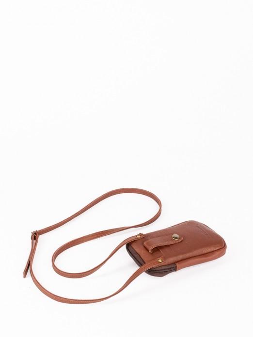 Bolsa Telemóvel em Pele Gravado Croco