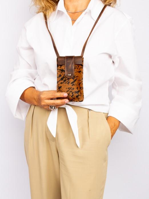 Animal-Print Leather Mobile Phone Bag