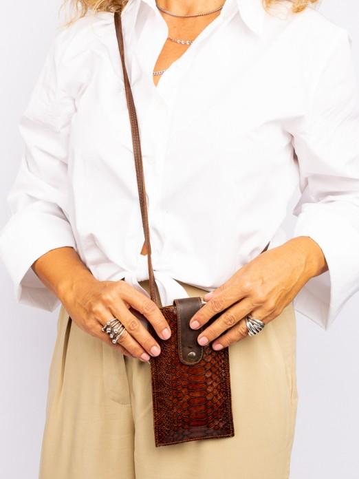 Bolsa Telemóvel em Pele Gravado Anaconda