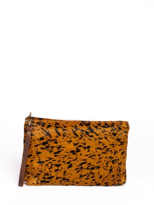 Animal-Print Leather Handbag