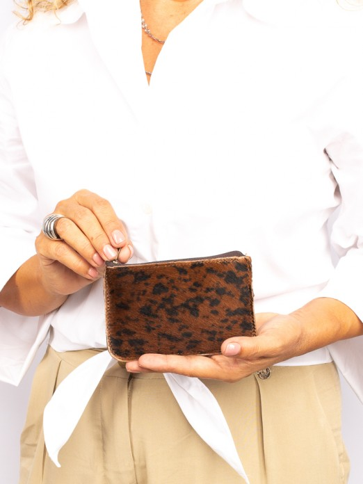 Animal-Print Leather Small Wallet