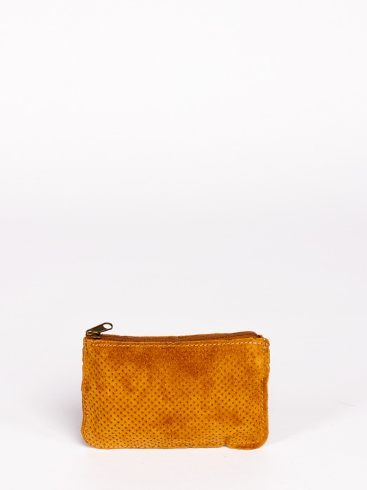 Perforated Suede Small Wallet