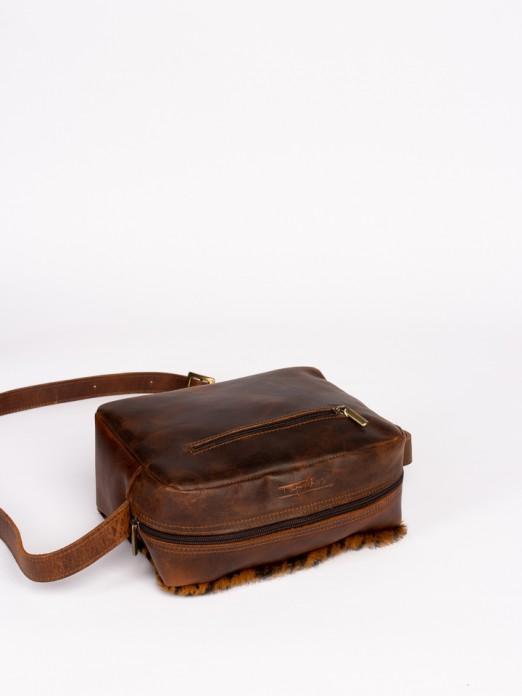 Animal-Print Leather Crossbody