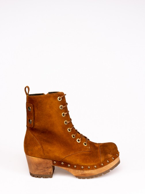 Lace-up Wood Heel Boots