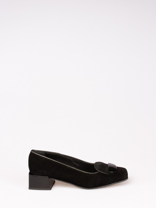 Suede Shoes with Square Heel